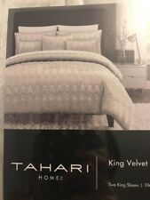 Tahari Gray Stitched Arch Velvet Damask 3pc KING DUVET Cover SHAM Set