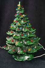 """Vtg 70's Atlantic Mold 23"""" Ceramic Green Christmas Tree Bird Peg Light SEE VIDEO"""