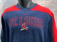 NIKE St Louis CARDINALS Baseball 2005 V-Neck T-Shirt Size L