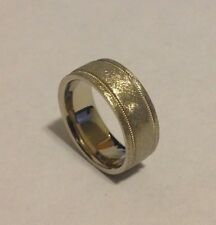 Men's Wedding Band Milgrain Ring - 14k Solid White Gold