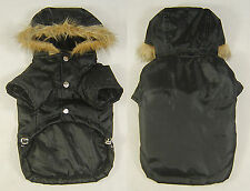 Small dog winter coat has faux fur trimmed hoodie, padded lining, pet dog jacket