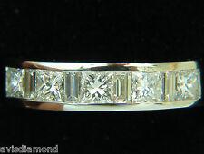 █$6000 1.50CT PLATINUM PRINCESS & BAGUETTE DIAMOND RING H/VS BAND