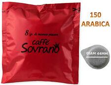 150 CIALDE CAFFE SOVRANO ARABICA  FILTROCARTA 44MM COMPATIBILI MOKONA BIALETTI