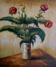 Claude Monet Purple Poppies Repro, Hand Painted Oil Painting, 20x24in