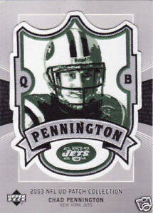 2003 CHAD PENNINGTON NEW YORK JETS UPPER DECK NFL PATCH