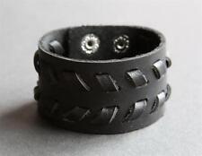 NEW Leather Hemp Surfer Men's Wide Snap Bracelet Wristband Cuff Black