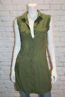 Cotton On Brand Khaki  Woven Tilly Sleeveless Shirt Dress Size XS BNWT #SW46