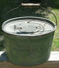 Rare Antique Green Falls Minnow Bait Bucket Oval Pail 2 Piece Penn Metalware old