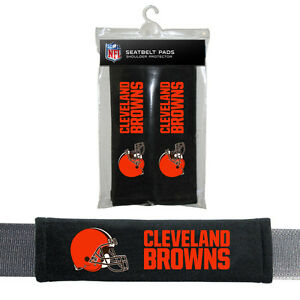 NFL Cleveland Browns Seat Belt Pads Velour Pair by Fremont Die
