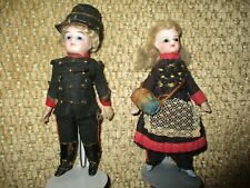 "5"" Pair of All Original All Bisque Mignonnette Dolls, Glass Eyes"