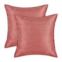 """Pack of 2 Silky Throw Pillow Cover Light Weight Dyed Striped 18 X 18"""" Coral Pink"""