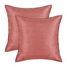 "2Pcs Silky Throw Pillows Covers Light Weight Dyed Striped 18x18"" Coral Pink Sofa"