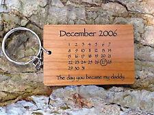 Personalised Laser Engraved Wooden Day You Became My Calendar Keyring