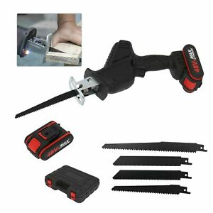 48V Cordless Electric Reciprocating Saw Garden 4Blades Wood Cutting Pruning Saw