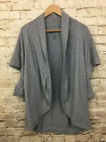 Lucky Brand Oversized Gray Open Front Cardigan Sweater Small Short Sleeves