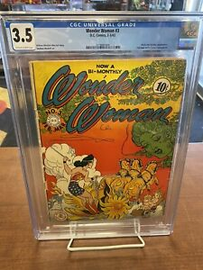 Wonder Woman #3 CGC 3.5 1943 Gourgous Colors and Off-White To White Pages! Look!