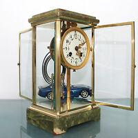 Antique French MOUGIN CLOCK Mantel TRANSLUCENT! MERCURY Pendulum CHIME Skeleton
