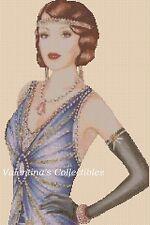 Cross Stitch Chart ART DECO LADY in Blue Dress -  No.1-122 (Large Print)