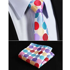 Mens Tie Rainbow Silk Satin Polka Dot Red Pink Blue Yellow Purple Wedding Hanky