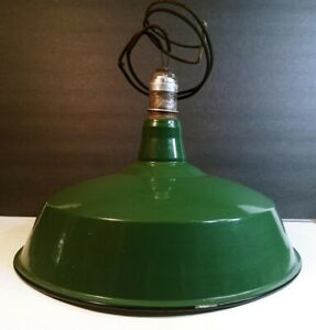 """16"""" Green Porcelain Gas Station Industrial Barn Lamp Light (downrod available)"""