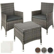 Aluminium Poly Rattan Garden Furniture 2 Chair 1 Table Set Patio Wicker Lounge