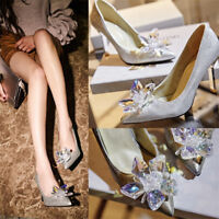 Women Rhinestone Party Shoes Stiletto Pointed-toe High Heels Pumps Wedding Shoes