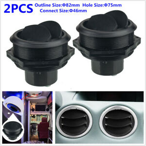 2PCS 46MM Connect Vent Air Outlet Rotating Round Ceiling Car RV Bus Trailer A/C