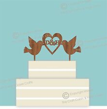 Doves & Heart Vintage Monogram, Wedding Cake Topper, Hardwood