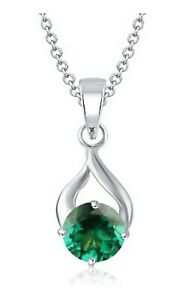 1.10Ct Round Shape Natural Zambian Emerald Women's Pendant In 14KT White Gold