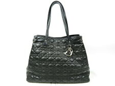 Authentic Christian Dior Lady Dior 2WAY Tote Bag Cannage Leather Black r1747