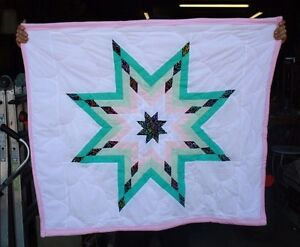 NEW NATIVE AMERICAN STAR QUILT 42X47 PINK/GREEN FREE SHIPPING