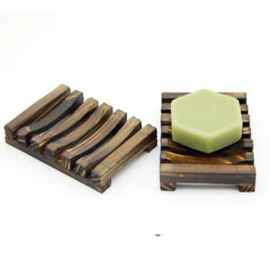 Portable Bamboo Wooden Soap Dish Shower Case Holder Container Storage Box