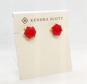 New Kendra Scott Ellms Stud Earrings In Red Agate / Gold