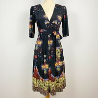 LEONA EDMISTON Size 8 Floral Dress Fit Flare Stretch Black Multicolour Print