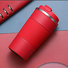380ml Double Stainless Steel Coffee Cup Thermos Mug with Non-slip Case Red