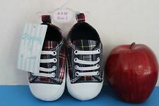 Stepping Stones Infant Baby SNEAKERS Crib Shoes~Blue Plaid~Size 3~ fits 6-9 Mo