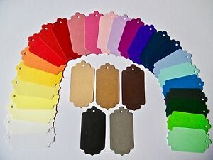 48 or 62 Fancy shape gift tags  labels  Choice of 31 colours or assorted