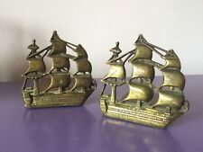 Pair Quality Vintage Ship Bookends. Heavy Brass. Bookshelf. Storage