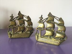 Pair Quality Vintage Ship Bookends. Heavy Brass. Bookshelf. Storage