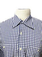 Peter Millar Button Front Shirt Blue Plaid Men's XL