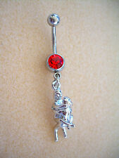 14g Kama Sutra Sex Position Navel Belly Ring Red CZ Surgical Steel #12