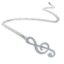 Crystal Chain Pendant Treble Clef Music Note Long Necklace for Women Silver F9y7