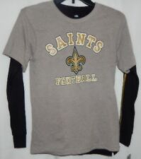 Youth Med 10-12 NFL Team Apparel Gray Saints SS Outer Shirt with Black LS Inner