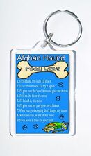 Afghan Hound Food Laws/Rules, Funny Keyring, Ideal Present for Birthday/Xmas