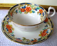 Royal Albert Crown China Cobalt Band Teacup & Saucer Art Deco Tea Cup Set c.1911