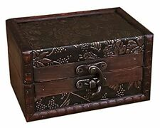 Vintage Art Home Decor Treasure Chest Jewelry Storage Trunk Box Wood Small Gift