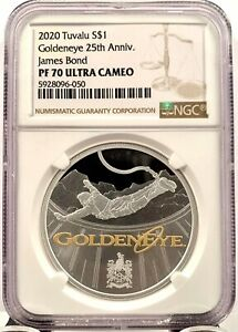 2020 Tuvalu $1 James Bond GoldenEye Proof 1 oz .999 Silver Coin - NGC PF 70 UCAM