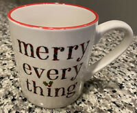 "Target Threshold White ""Merry Every Thing"" Stoneware Coffee Mug Tea Cup 16 Oz"