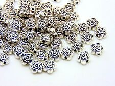 80 x 7mm Tibetan Silver Rose Flower Spacer Beads Free Postage New  XX64