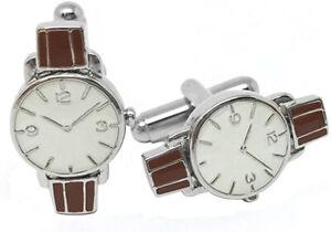 $195 New Mens Babette Wasserman London Retro Watch Enamel Cufflinks
